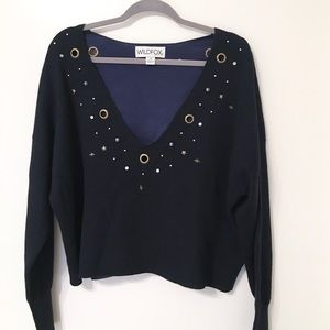 Wildfox Studded Star Cline Black Pullover Sweater